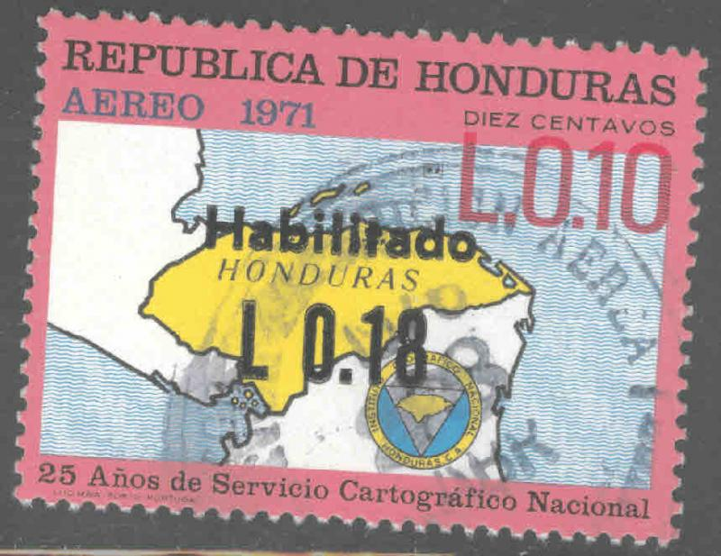 Honduras  Scott C557 Used airmail map stamp