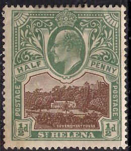 St Helena 1903 KEV11 1/2d Government House MM SG 55 ( K1112 )