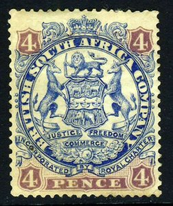 RHODESIA 1897 Arms 4d. Lion Heavily Shaded Scroll Behind Leg No Dot SG 44a MINT