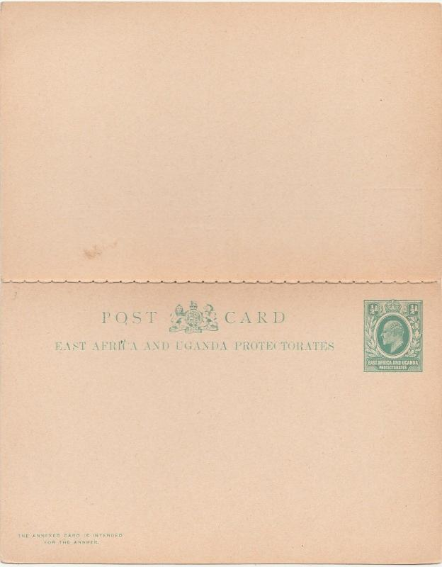 EAST AFRICA AND UGANDA 1902 KEVII DOUBLE REPLY POSTCARD