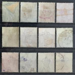Malaya Straits Settlements 1892-99 QV 12V CA Used M2052