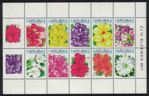 Aruba Flowers Block of 10 with labels 2011 MNH SG#520-529