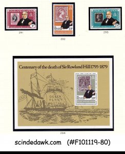 FALKLAND ISLANDS 1979 100yrs OF DEATH OF SIR ROWLAND HILL 3-STAMPS WH 1-M/S MNH
