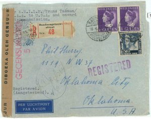 93710 - DUTCH INDIES  - POSTAL HISTORY - CENSORED Registered COVER to USA  1941