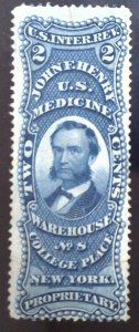 Scott #RS115a - 2c Blue - Old Paper - John F. Henry