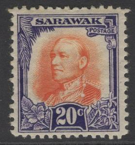 SARAWAK SG101 1932 20c RED-ORANGE & VIOLET MTD MINT