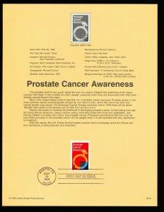 USA Scott 3315 -  Souvenir Page SP1312  #9919 - PROSTATE CANCER - 1999