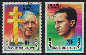 Upper Volta General de Gaulle King Baudouin 2v 1977 CTO SG#446-447 SC#434-435