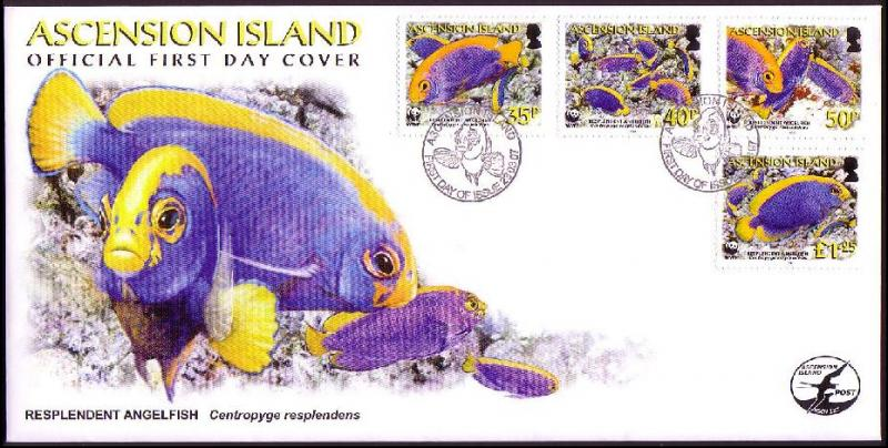 Ascension WWF Resplendent Angelfish FDC