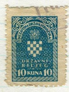 CROATIA; 1940s early classic Revenue/Fiscal issue fine used 10k. value