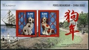 HERRICKSTAMP NEW ISSUES ALAND Sc.# 402 Dogs Souvenir Sheet