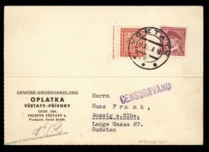 Germany 1938 Wschetat Sudetenland Annexation Vsetaty Cover 90467