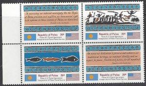 Palau 1-4 MNH Block of 4, Inauguration of Postal Service
