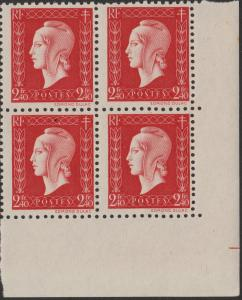 FRANCE - 1945 - Block of 4x2fr40 Marianne de Dulac Yv.693/Mi.720 **