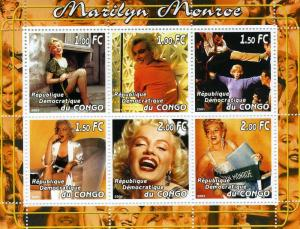 MARILYN MONROE Sheet (6) Perforated Mint (NH)