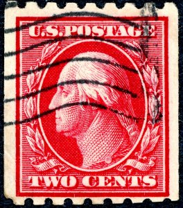 #391 – 1910 2c Washington, carmine, perf 8.5 horizontal. Used. VF.