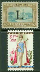 EDW1949SELL : COLOMBIA 1950-59 Scott #C185, C318 Both VF, Mint NH. Catalog $75.