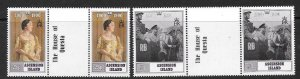 ASCENSION SG525/6 1990 QUEEN MOTHER GUTTER PAIRS MNH