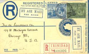 Trinidad 3d and 1/- KGV and Britannia on 3d KGV Registration Envelope 1934 Re...
