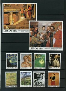 LESOTHO 1988 PAINTINGS SET OF 8 STAMPS & 2 S/S MNH
