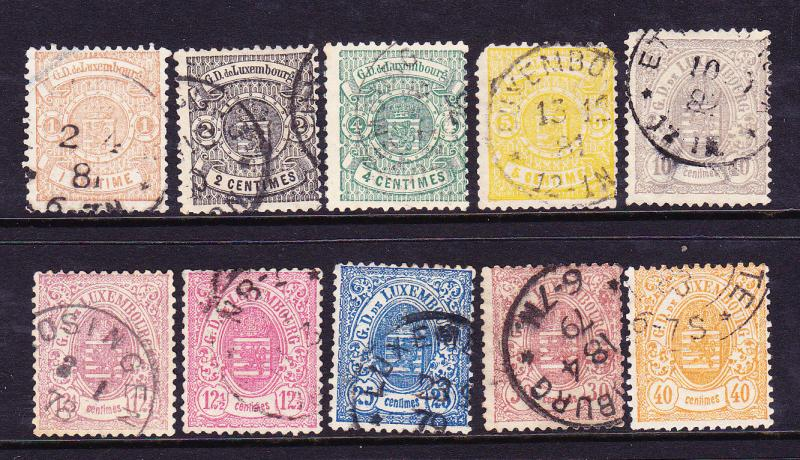 LUXEMBOURG  1875-79  ARMS  SET 10 FU  Sc 29/38