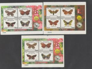 NEPAL: Sc. 960-62 /***WILDLIFE-BUTTERFLIES ***/ 3 Perforated Sheets of 4  / MNH