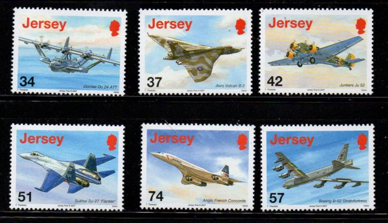 Jersey Sc 1281-6 2007 Airplanes stamp set mint NH