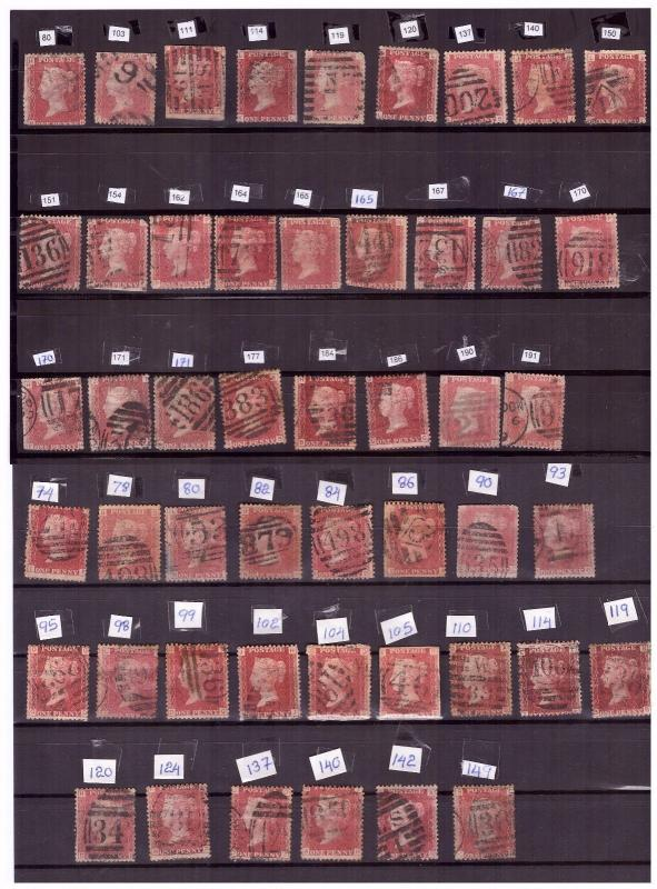 GB QV Queen Victoria Penny red plate numbers 1d  (67 stamps