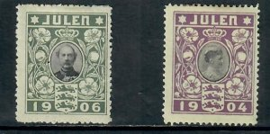 DENMARK CHARITY STAMPS  JULEN 1904 AND 1906 MINT HINGED