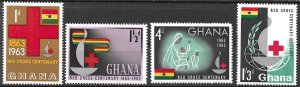 Ghana Red Cross Centennial set of 1963, Scott 139-142 MNH