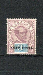 Sarawak 1892 1c on 3c surcharge MH