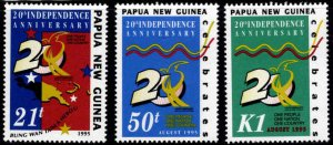 PNG Papua New Guinea Scott 879-881 MNH** 20 years of Independence set