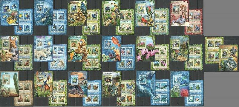ST0316-0333,2905 2016 SIERRA LEONE BIRDS BUTTERFLIES MARINE LIFE 19BL+19KB MNH