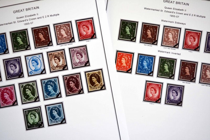 COLOR PRINTED GB WILDING ISSUES 1952-1967 STAMP ALBUM PAGES (10 illustr. pages)