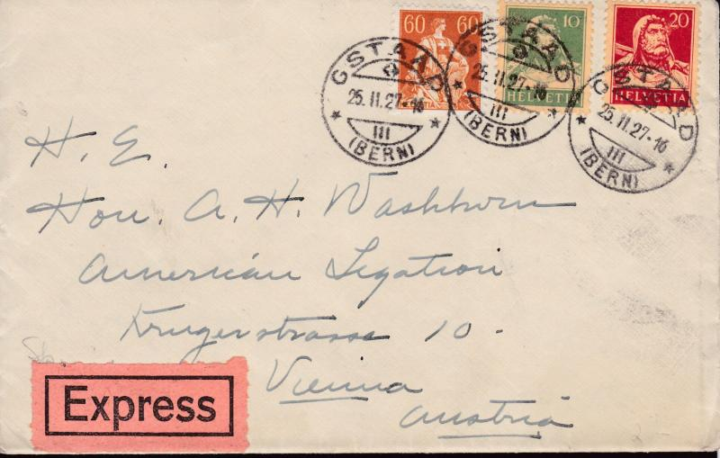 Switzerland 1927 Nice Three Color Franking Special Delivery Rate Cover