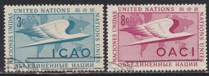 United Nations - New York # 31-32, Intern. Civil Aviation Org. Used, 1/3 Cat.