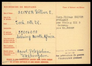USA 1943 North Africa Germany POW Camp Red Cross Cover Catholic Switzerlan 89666