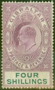 Gibraltar 1908 4s Dp Purple & Green SG63 Fine Mtd Mint