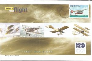 100 Years Of Flight First Day Cover Sikorsky S-38 2003 St. Lucia Z5501