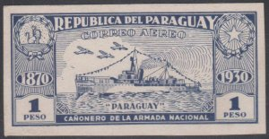PARAGUAY 1931 GUNBOAT Sc C40 DARK BLUE IMPERF PLATE PROOF CHALKY SURFACE CARD