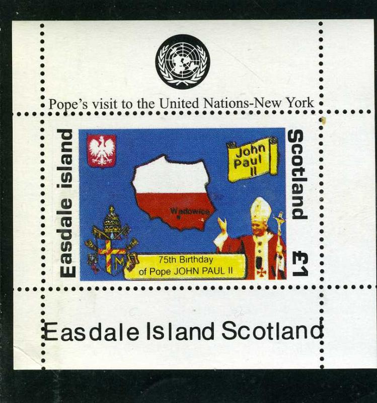 Easdale Island Scotland Pope John Paul II s/s Perforated mnh.vf