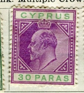 CYPRUS; 1904 early Ed VII issue Mint hinged 30pa. value