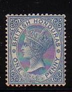 British Honduras Sc 13 1884 1d blue Victoria stamp mint