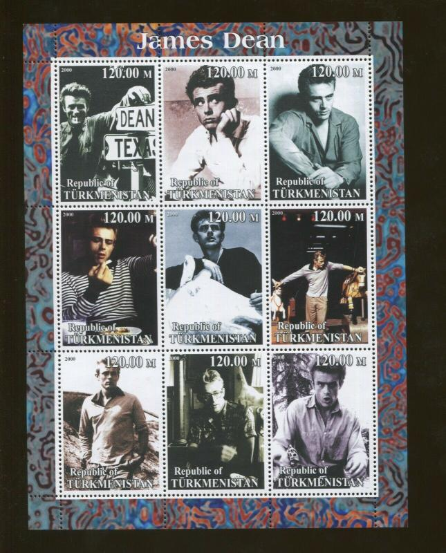 Turkmenistan Actor James Dean Commemorative Souvenir Stamp Sheet
