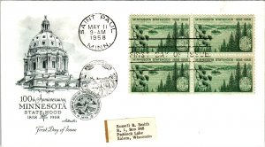 US 1106 Minnesota Statehood Block of Four Artmaster Label FDC