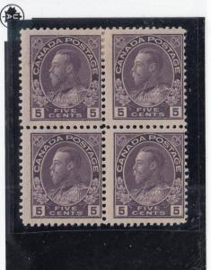 CANADA  # 112  FVF-2MNH/2H  5cts  KGV ADMIRAL BLOCK OF 4 VIOLET  CAT VALUE $160