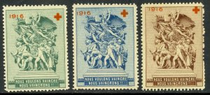 FRANCE 1916 WW1 PATRIOTIC RED CROSS Charity Stamps 3 Different 1MNG/2MLH