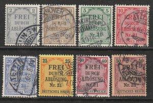 Stamp Germany Official Mi 001-8 Sc OL1-8 1903 Dienst Prussia District Nr 21 Used