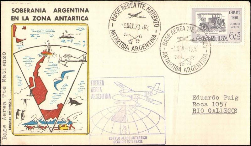 1970 ARGENTINA ANTARCTIC ENVELOPE WITH CACHETS BASE MATIENZO
