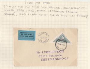 SOUTH WEST AFRICA 1931 FIRST FLIGHT CVOER MARIENTAL - KEETMANSHOOP